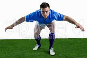 Rugby player ready to tackle the opponent