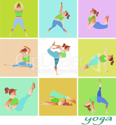 Set yoga fat woman