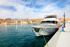 Motor yacht on Red Sea in harbor, Sharm el Sheikh, Egypt