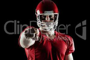 American football player pointing at camera