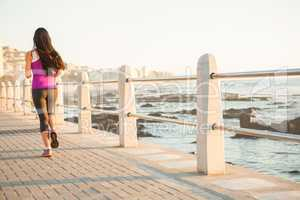 Rear view of fit woman jogging at promenade
