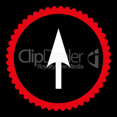 Arrow Axis Y flat red and white colors round stamp icon