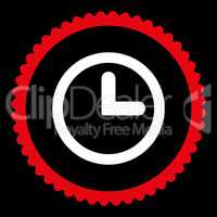 Clock flat red and white colors round stamp icon