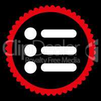 Items flat red and white colors round stamp icon