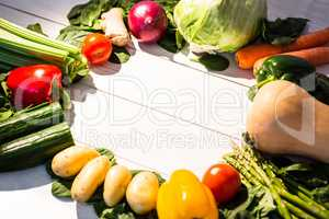 Circle of vegetables on table
