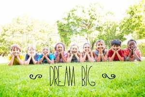 Dream big against happy friends in the park