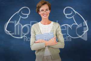 Composite image of teacher holding tablet pc at library