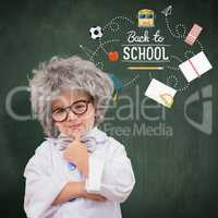 Composite image of cute pupil in lab coat