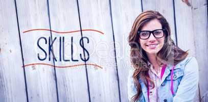 Skills against pretty woman smiling at camera