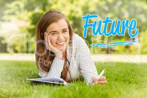 Future against smiling university student lying and writing on n