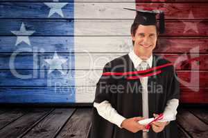 Composite image of man graduating from university