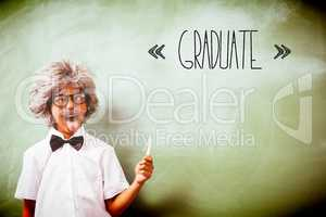 Graduate against boy dressed as senior teacher in front of black