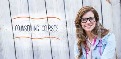 Counselling courses against pretty woman smiling at camera