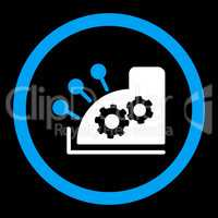 Cash register flat blue and white colors rounded glyph icon