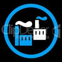 Industry flat blue and white colors rounded glyph icon