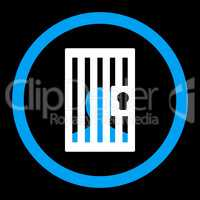 Prison flat blue and white colors rounded glyph icon