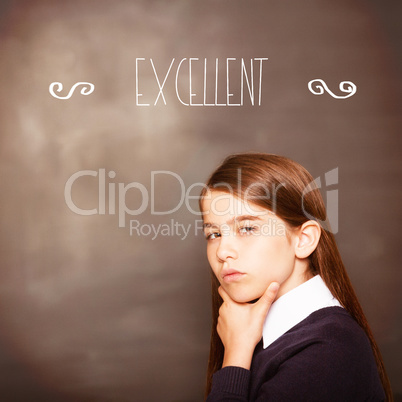 Excellent! against thinking pupil looking at camera