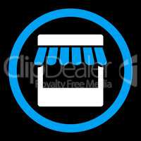 Store flat blue and white colors rounded glyph icon