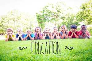 Education against happy friends in the park