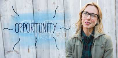 Opportunity against blonde in glasses posing and thinking
