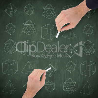 Composite image of hand of a businessman writing with a white ch
