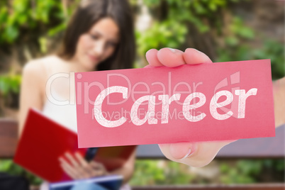 Career against pretty student studying outside on campus