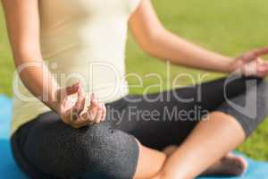 Fit woman meditating on exercise mat