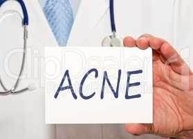 ACNE - Doctor with sign and text