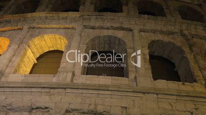 Famous Roman sight Coliseum at night