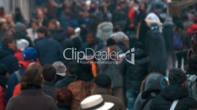 City People Walking in Cold Day