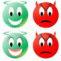 Angel and devil smiley