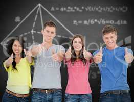 Composite image of four people standing beside each other give t