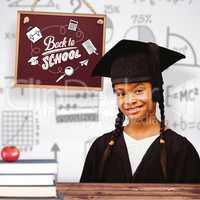 Composite image of cute pupil graduating