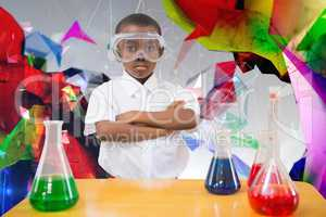 Composite image of pupil conducting science experiment