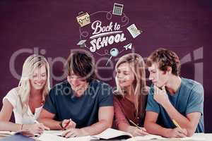Composite image of four students sitting together and trying to