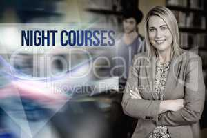 Night courses against professor looking at camera with arms fold