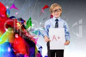 Composite image of cute pupil showing a plus grade