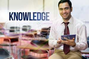 Knowledge against teacher with tablet pc in the class room