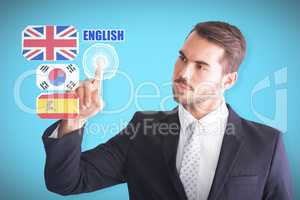 Composite image of thoughtful businessman pointing something wit