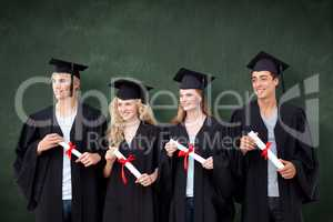 Composite image of group of people celebrating after graduation