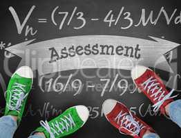 Assessment against black background