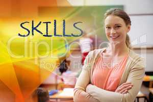 Skills against pretty teacher smiling at camera at back of class