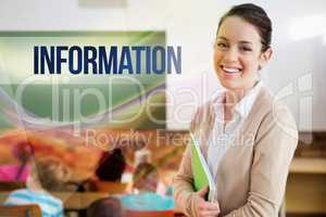 Information against pretty teacher smiling at camera at back of