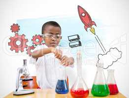 Composite image of cute pupil playing scientist