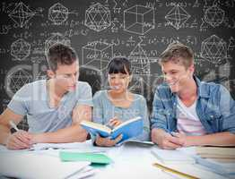Composite image of two students getting help from a female stude