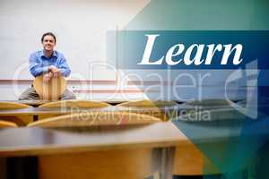 Learn against male teacher sitting on chair in lecture hall