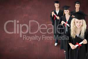 Composite image of smiling group of teenagers celebrating after