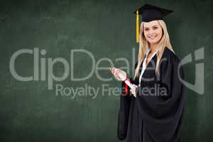 Composite image of blonde student in graduate robe holding a dip