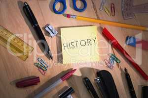 History against students table with school supplies