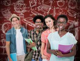 Composite image of stylish students smiling at camera together